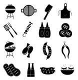 Geplaatste barbecuepictogrammen Stock Afbeeldingen