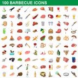 100 geplaatste barbecuepictogrammen, beeldverhaalstijl stock illustratie