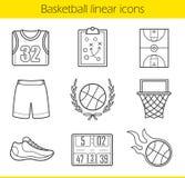 Geplaatste basketbal lineaire pictogrammen vector illustratie