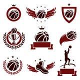 Geplaatste basketbaletiketten en pictogrammen. Vector vector illustratie