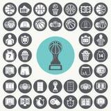 Geplaatste basketbalpictogrammen Royalty-vrije Stock Afbeeldingen