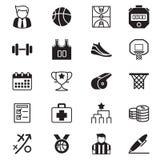 Geplaatste basketbalpictogrammen Stock Foto