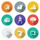 Geplaatste basketbalpictogrammen Vector illustratie Stock Foto