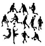 Geplaatste basketbalsilhouetten Royalty-vrije Stock Afbeelding
