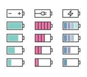Geplaatste batterijpictogrammen Stock Afbeeldingen