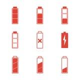 geplaatste batterijpictogrammen Royalty-vrije Stock Afbeeldingen