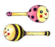Geplaatste Beanbagskevers, bij en lieveheersbeestje royalty-vrije illustratie