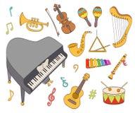 Geplaatste beeldverhaal muzikale instrumenten Stock Afbeeldingen