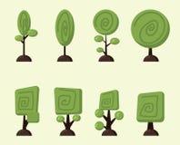Geplaatste beeldverhaal vectorbomen Stock Afbeelding