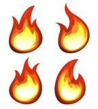 Geplaatste beeldverhaalbrand en Vlammen Royalty-vrije Stock Afbeeldingen
