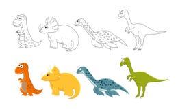 Geplaatste beeldverhaaldinosaurussen Kleurende boekpagina's voor jonge geitjes Zieke vector vector illustratie