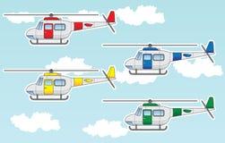 Geplaatste beeldverhaalhelikopters royalty-vrije illustratie