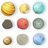 Geplaatste beeldverhaalplaneten Stock Foto