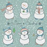 Geplaatste beeldverhaalsneeuwmannen, Kerstmisillustratie Royalty-vrije Stock Afbeeldingen