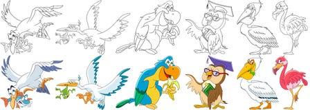 Geplaatste beeldverhaalvogels royalty-vrije illustratie