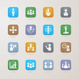 Geplaatste beheers en Bedrijfspictogrammen Stock Foto's