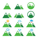 Geplaatste berg groene pictogrammen Stock Foto