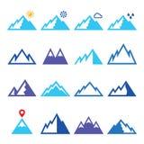 Geplaatste bergen blauwe pictogrammen Stock Afbeelding