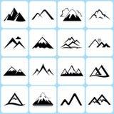 Geplaatste bergpictogrammen Stock Foto