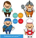 Geplaatste beroepen Fotograaf, mijnwerker, brievenbesteller, de karakters van de kokchef-kok in beeldverhaalstijl Vector illustra Royalty-vrije Stock Afbeeldingen