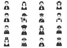 Geplaatste beroepspictogrammen Stock Fotografie