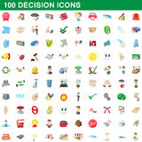 100 geplaatste besluitpictogrammen, beeldverhaalstijl Stock Fotografie