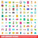 100 geplaatste bibliotheekpictogrammen, beeldverhaalstijl Royalty-vrije Stock Foto