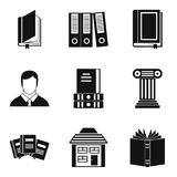 Geplaatste bibliotheekpictogrammen, eenvoudige stijl Royalty-vrije Stock Afbeelding