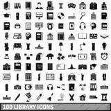 100 geplaatste bibliotheekpictogrammen, eenvoudige stijl Royalty-vrije Stock Foto's