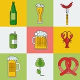 Geplaatste bier lineaire pictogrammen royalty-vrije illustratie