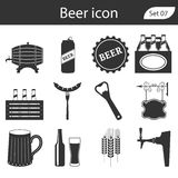 Geplaatste bier vectorpictogrammen - fles, glas, pint Royalty-vrije Stock Fotografie