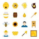 Geplaatste bijenstal vlakke pictogrammen Royalty-vrije Stock Foto's