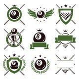 Geplaatste biljartetiketten en pictogrammen. Vector Royalty-vrije Stock Afbeeldingen