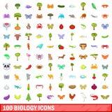 100 geplaatste biologiepictogrammen, beeldverhaalstijl Royalty-vrije Stock Foto