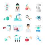 Geplaatste biotechnologie Vlakke Pictogrammen vector illustratie