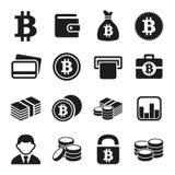 Geplaatste Bitcoinpictogrammen Stock Foto
