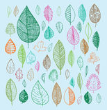 geplaatste bladerenkrabbels Vector hand getrokken illustratie Stock Fotografie
