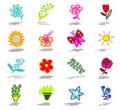 geplaatste bloemenpictogrammen Stock Fotografie