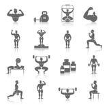 Geplaatste Bodybuildingspictogrammen Stock Foto's