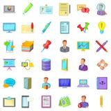 Geplaatste boekhoudafdelingspictogrammen, beeldverhaalstijl Stock Afbeelding