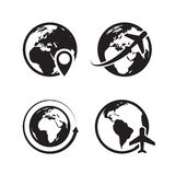 Geplaatste bolpictogrammen Van de wereldaarde en bol van het pictograminternet van de kaartspeld globale de handels vectorsymbole royalty-vrije illustratie