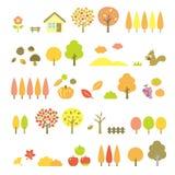 Geplaatste bomen, de herfst stock illustratie