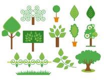Geplaatste bomen en installaties Stock Foto