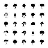 Geplaatste bomen Stevige Vectorpictogrammen Stock Foto's