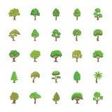Geplaatste bomen Vlakke Vectorpictogrammen Royalty-vrije Stock Foto