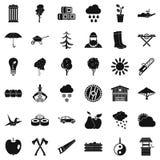 Geplaatste boompictogrammen, eenvoudige stijl Royalty-vrije Stock Afbeeldingen