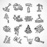Geplaatste bouwpictogrammen Royalty-vrije Stock Fotografie