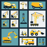 Geplaatste bouwpictogrammen Royalty-vrije Stock Afbeeldingen