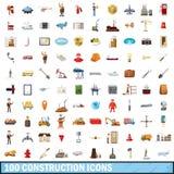 100 geplaatste bouwpictogrammen, beeldverhaalstijl Royalty-vrije Stock Foto's