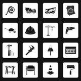 Geplaatste bouwpictogrammen, eenvoudige stijl Stock Fotografie